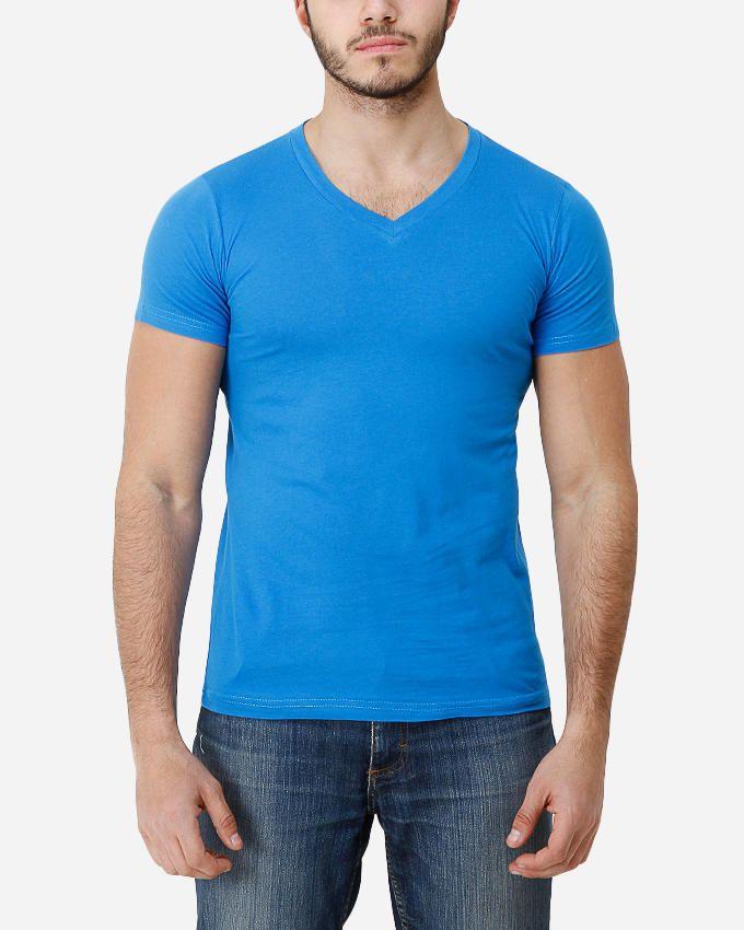 Fuel Light Blue Cotton Basic V-Neck T-Shirt