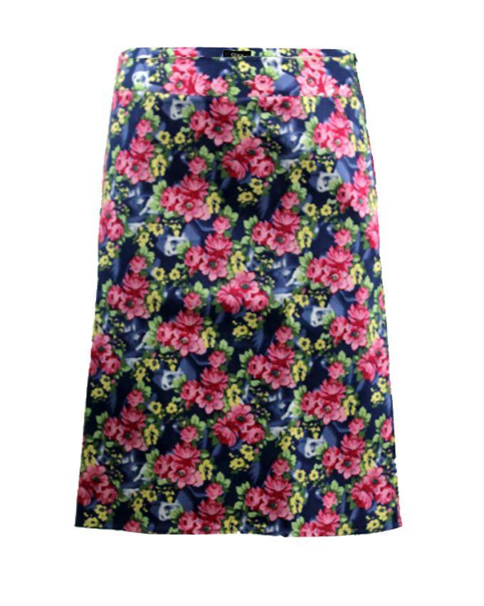 Giro Multicolour Gabardine/Cotton Floral Straight Skirt