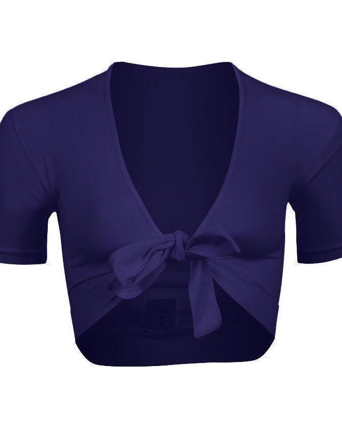 Silvy Navy Blue Lycra Short Sleeves Bolero