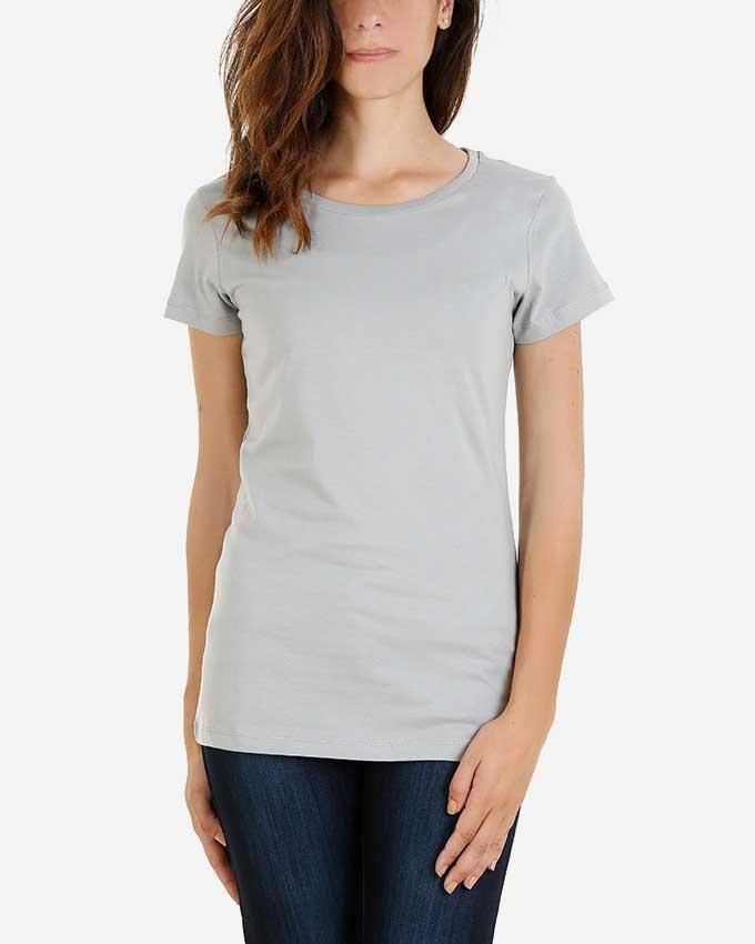 Kaf Cotton Crew Neck Basic T-Shirt - Titanium