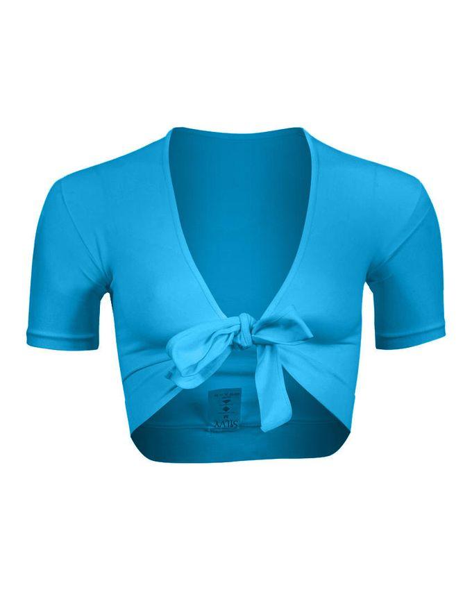 Silvy Turquoise Lycra Short Sleeves Bolero