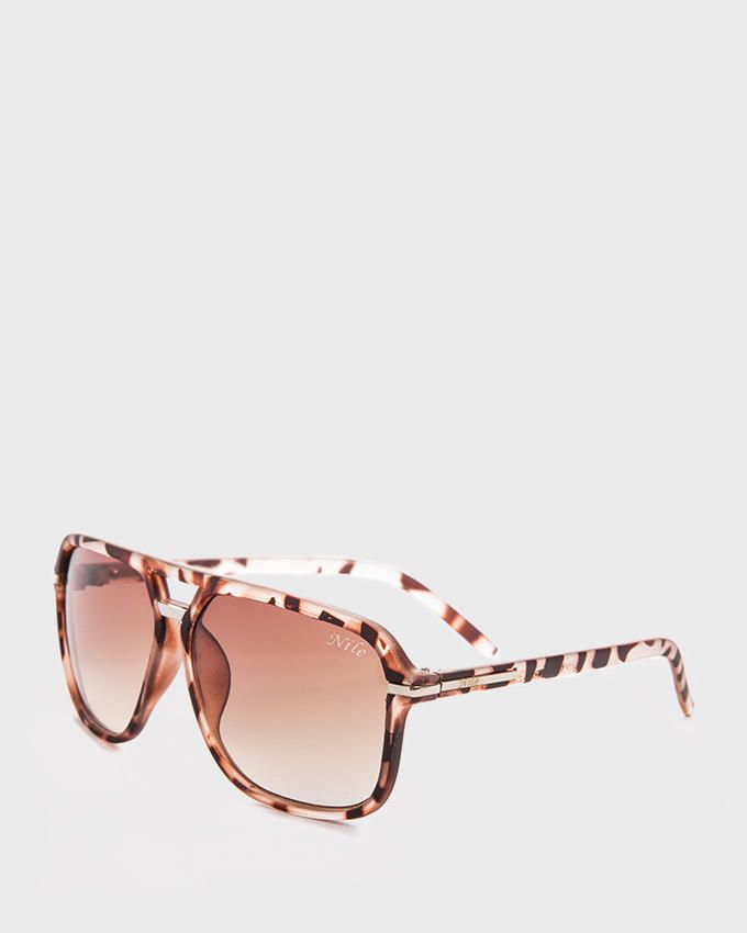 Nile Oversized Patterned Aviator Sunglasses - Dark Brown
