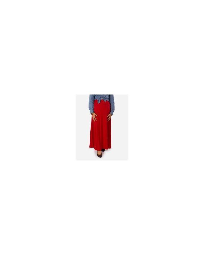 Rehan Red Lycra Cotton Skirt