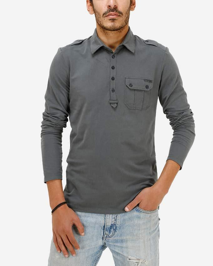 Guess Military Sleeved Polo - Olive