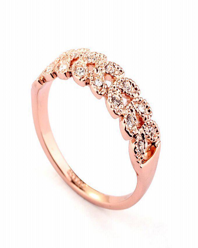 Dinardo Rose Gold 18K Gold Plated Swarovski Ring