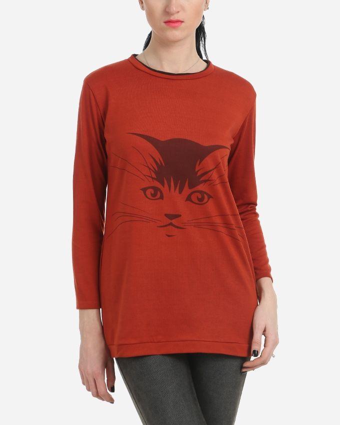 Cat Printed Top - Dark Burnt Orange