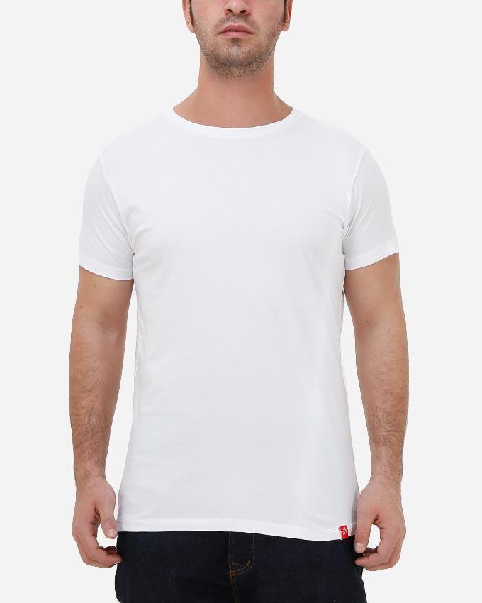 Kaf Cotton Crew Neck Basic T-Shirt - White