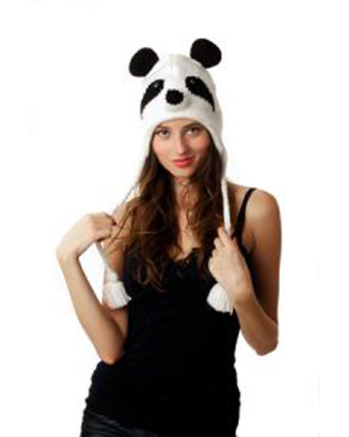 Panda Hats HB-WH008 Knit Panda - White