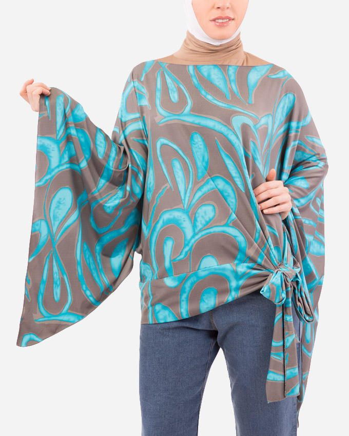 Glow Printed Batwings Blouse - Turquoise & Grey