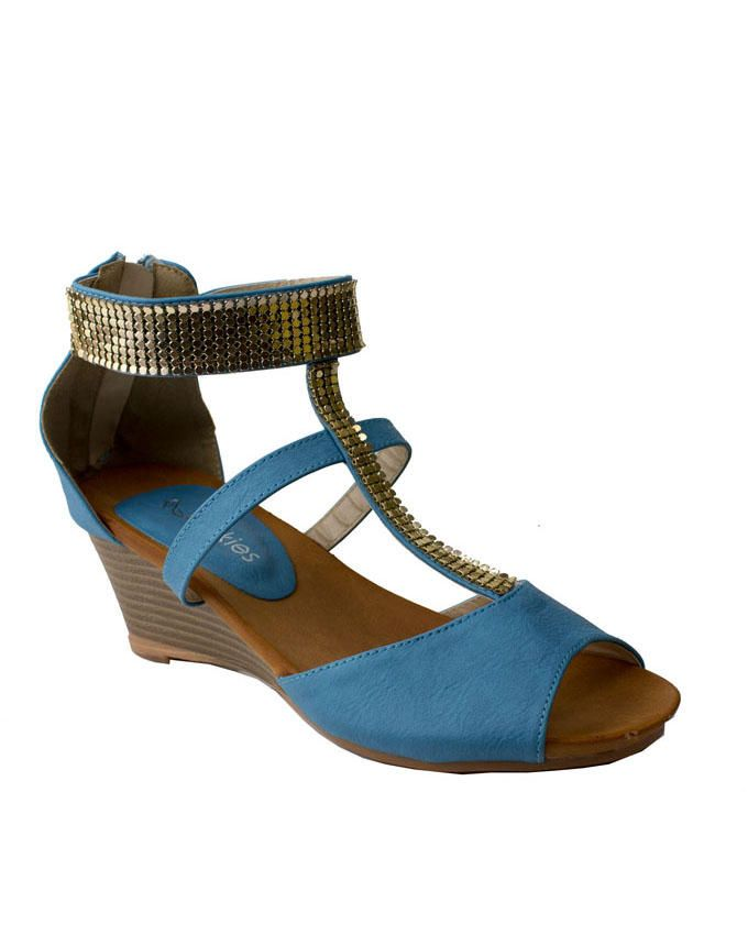 Walkies Celestial Blue PU Leather Wedge Sandals with With Decorative Strass