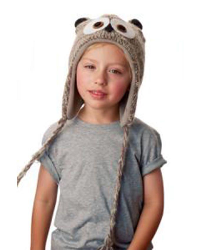 Panda Hats HB-WH060 Knit Silver Owl - Grey