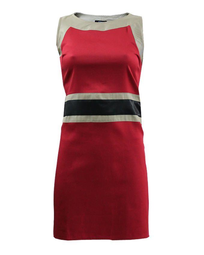 Giro Red/Black/Beige Gabardine/CottonSleeveless Printed Shift Dress