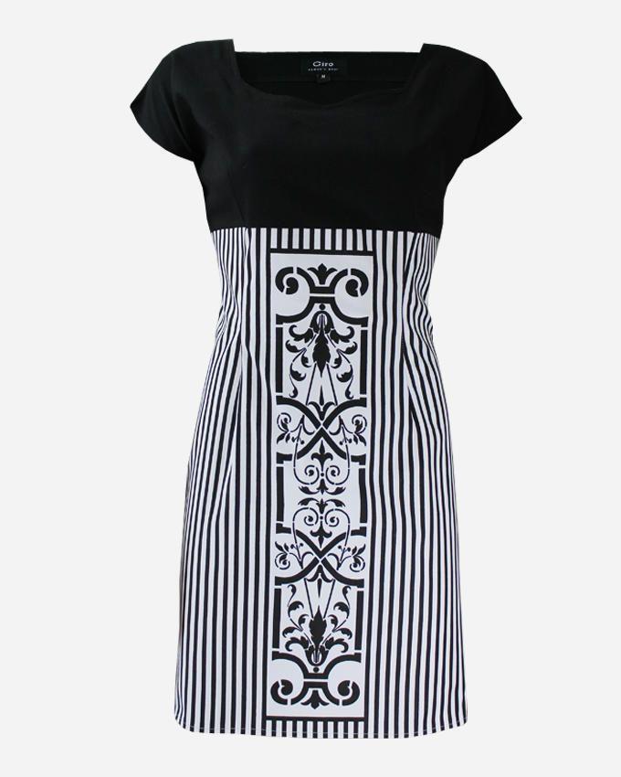 Giro Vertical Striped Pattern Gabardine\Cotton Shift Dress - Black/White