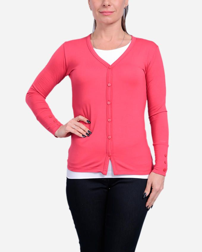 Guzel House Button Down Cardigan - Coral Pink