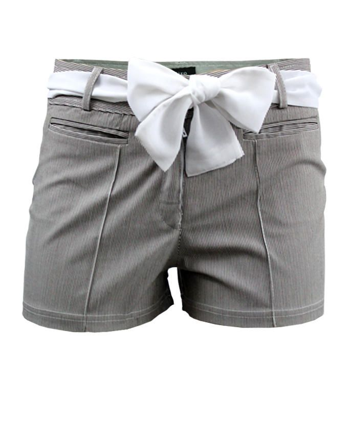 Giro Cotton Pin Striped Shorts - Grey
