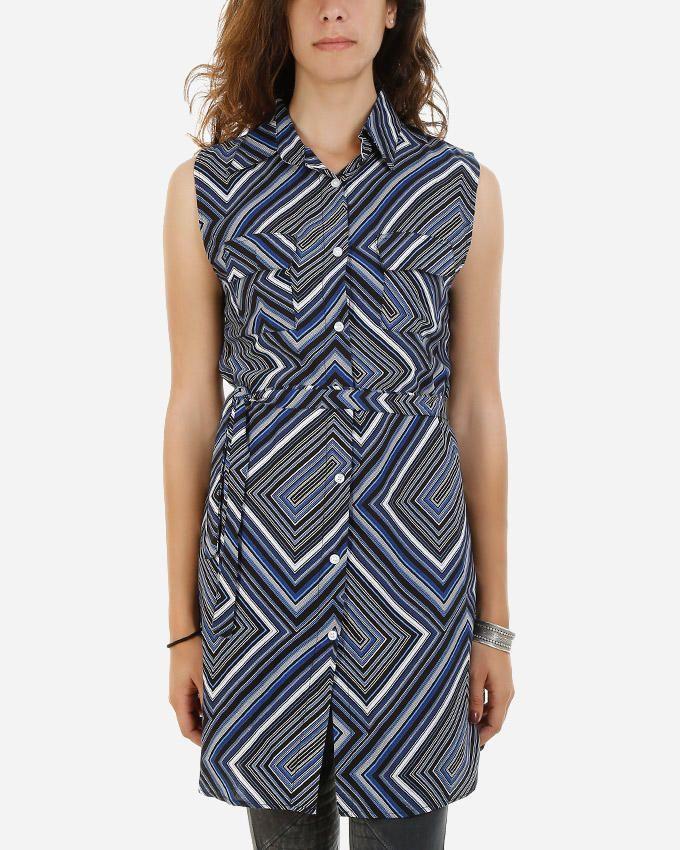 Be Positive Abstract Shirt Dress - Dark Blue logo