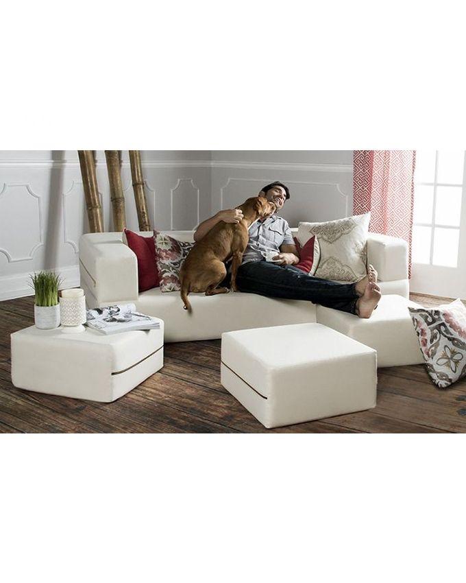 Sedra Sofa Bed Ottoman 3 Pcs White Buy Online Jumia Egypt
