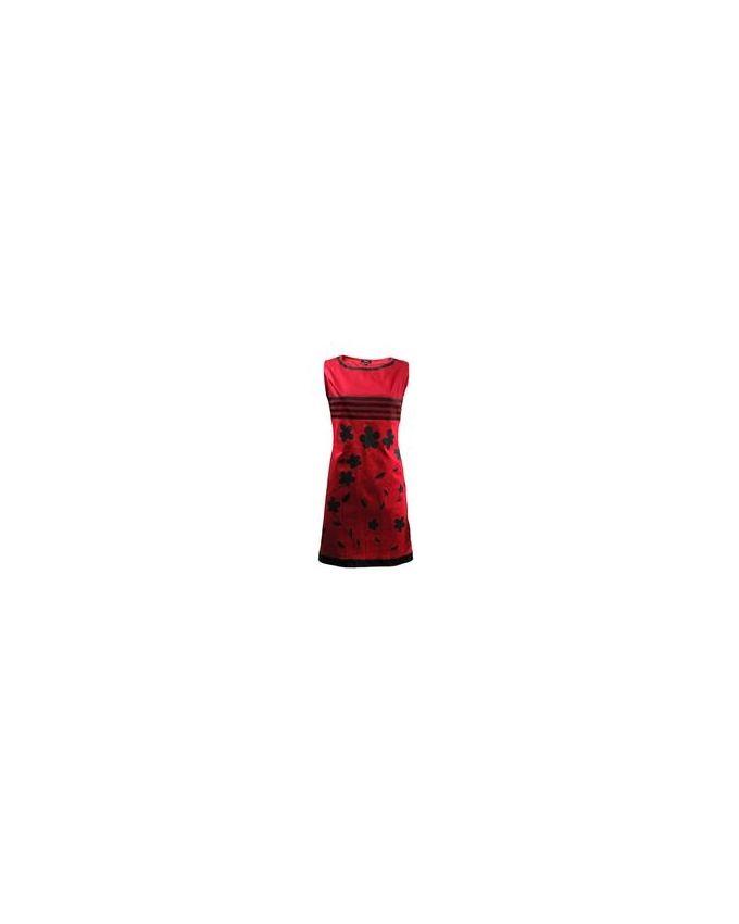 Giro Red & Black Gabardine/Cotton Sleeveless Printed Shift Dress