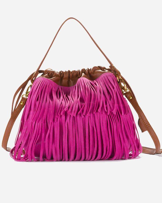 Deeda Fringy Hand Bag - Fuchsia