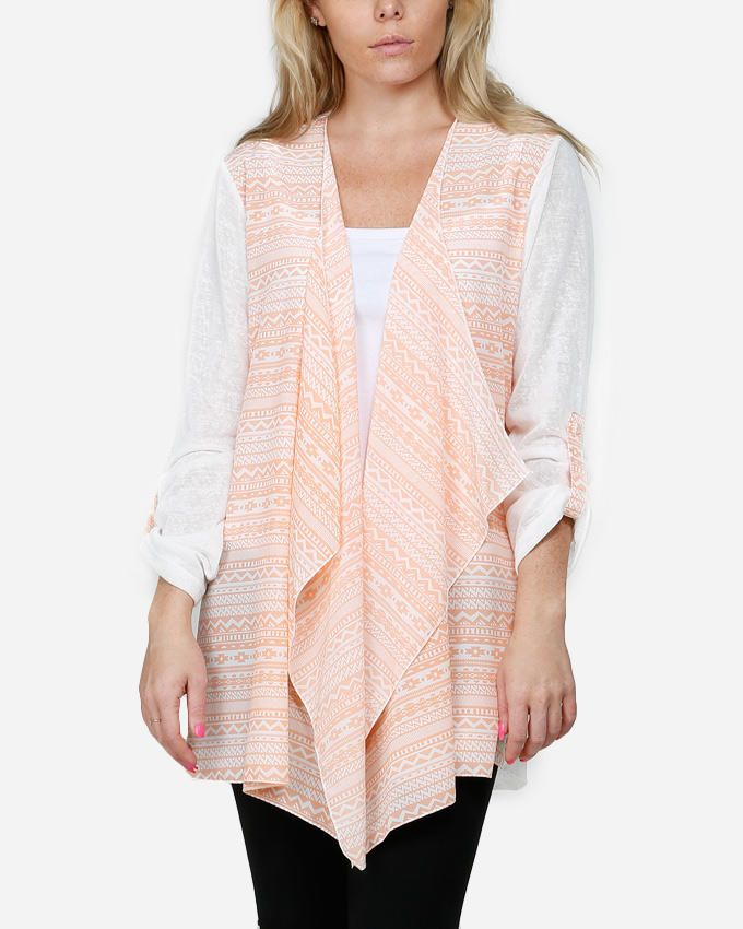 VUE Aztec Cardigan with Back Flower - Peach & White logo