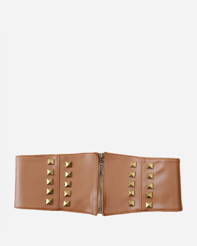 Glow Belt with Decorative Studs - Camel