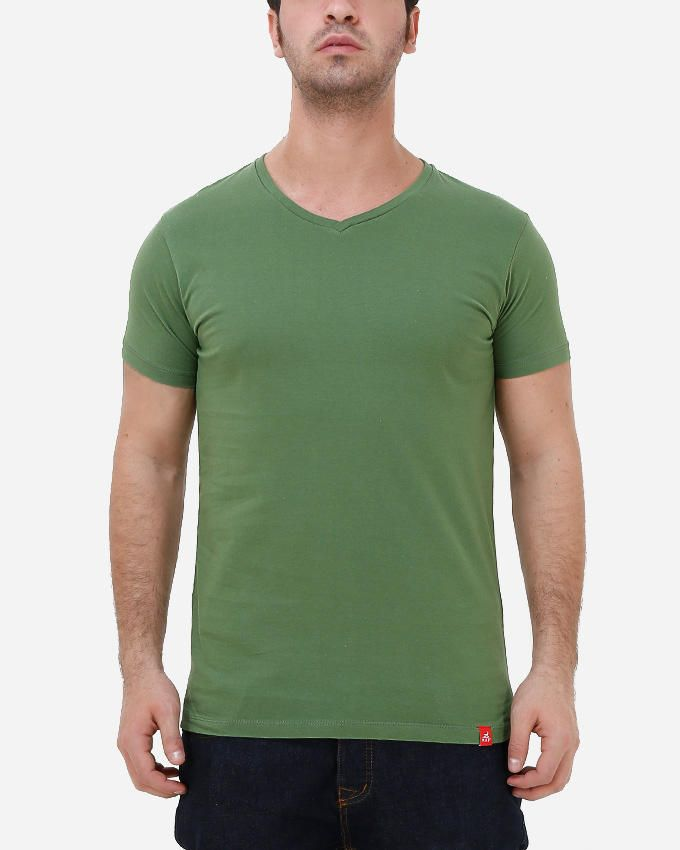 Kaf Cotton V Neck Basic T-Shirt - Tree Top