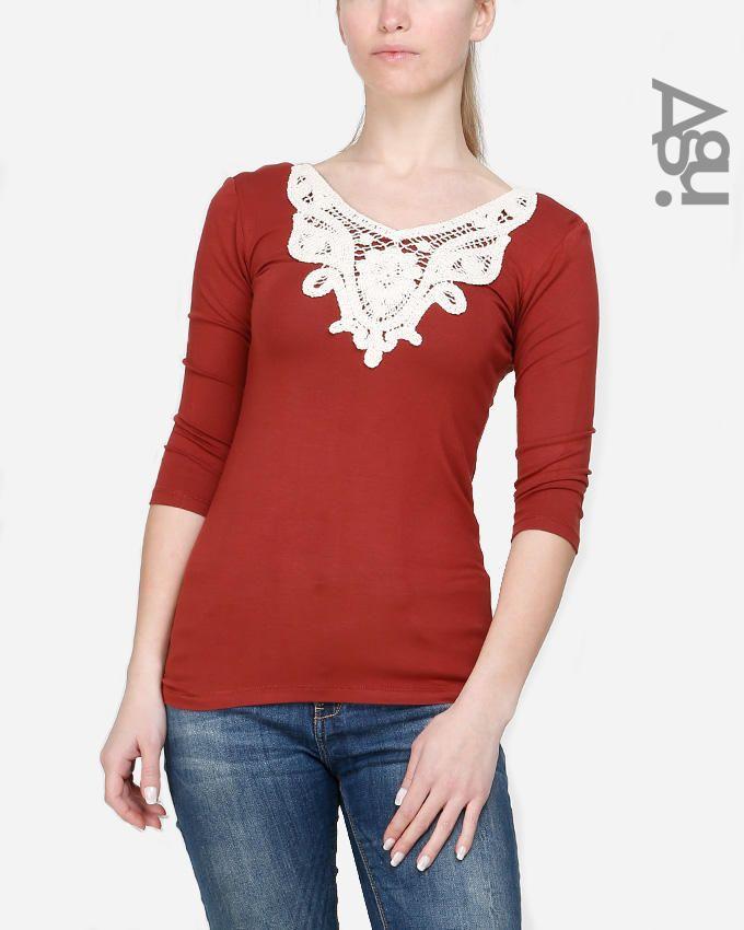 Agu 3/4 Sleeves Embroidery Collar Top - Maroon