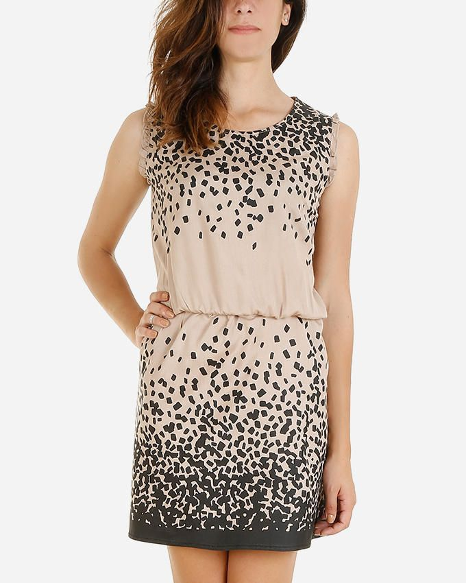 Giro Cotton/Viscose Sleeveless Printed Dress - Beige/Black