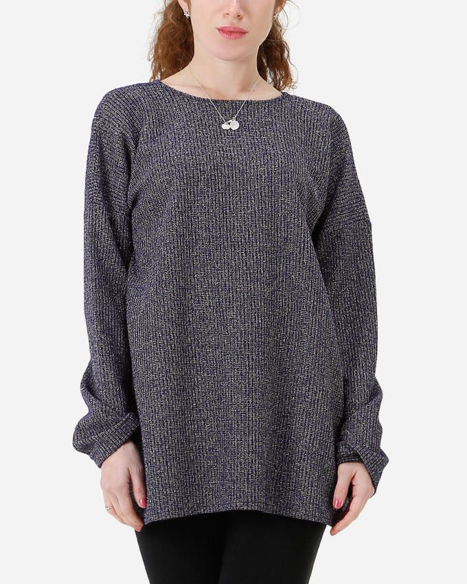 Don Sugar Knitted Rounded Collar Pullover with Back Zipper - Grey