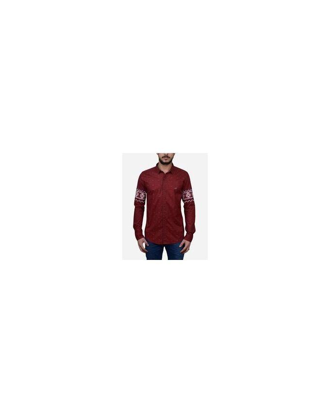 Cuba Aztec Sleeves Shirt - Dark Red