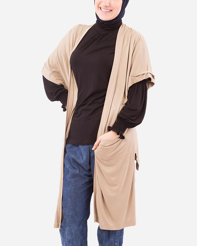 Glow Short Sleeves Cardigan - Beige