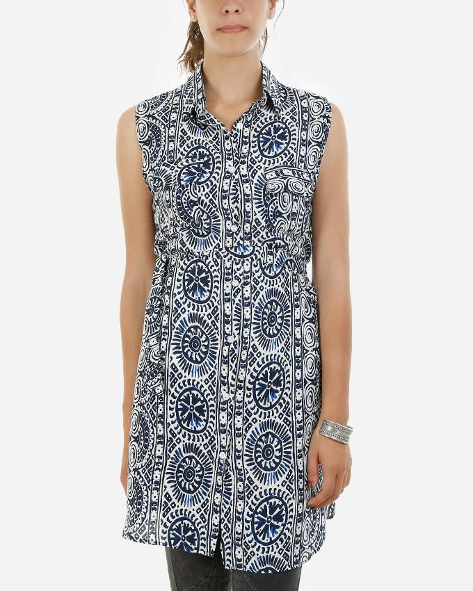 Be Positive Mexican Shirt Dress - Navy & White logo