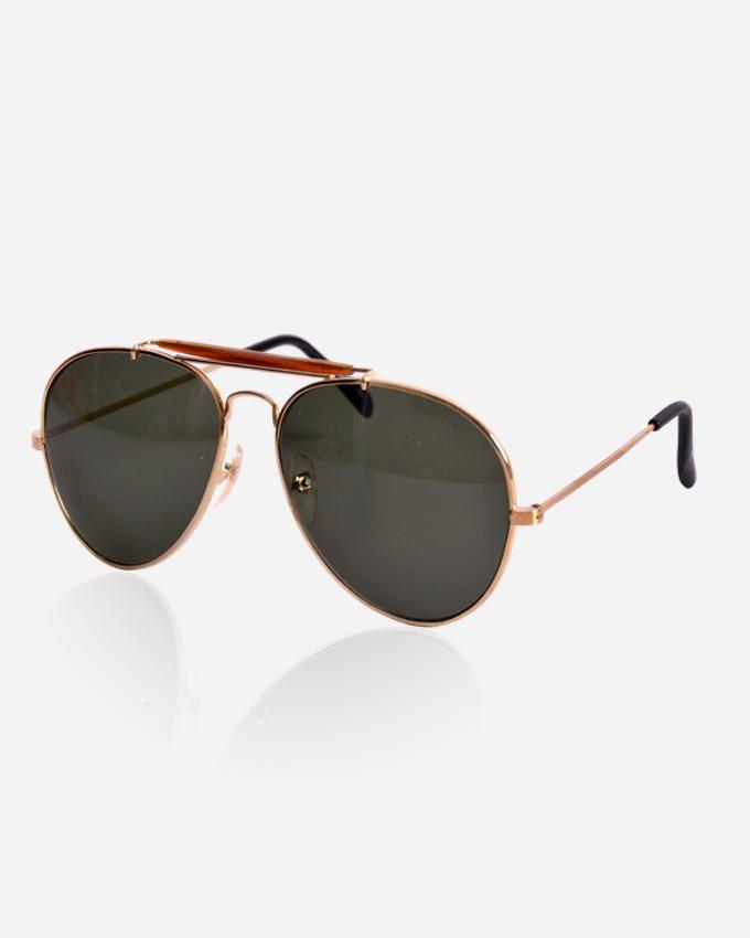 Ticomex Pilot men's Sunglasses - Gold Frame with Green lenses