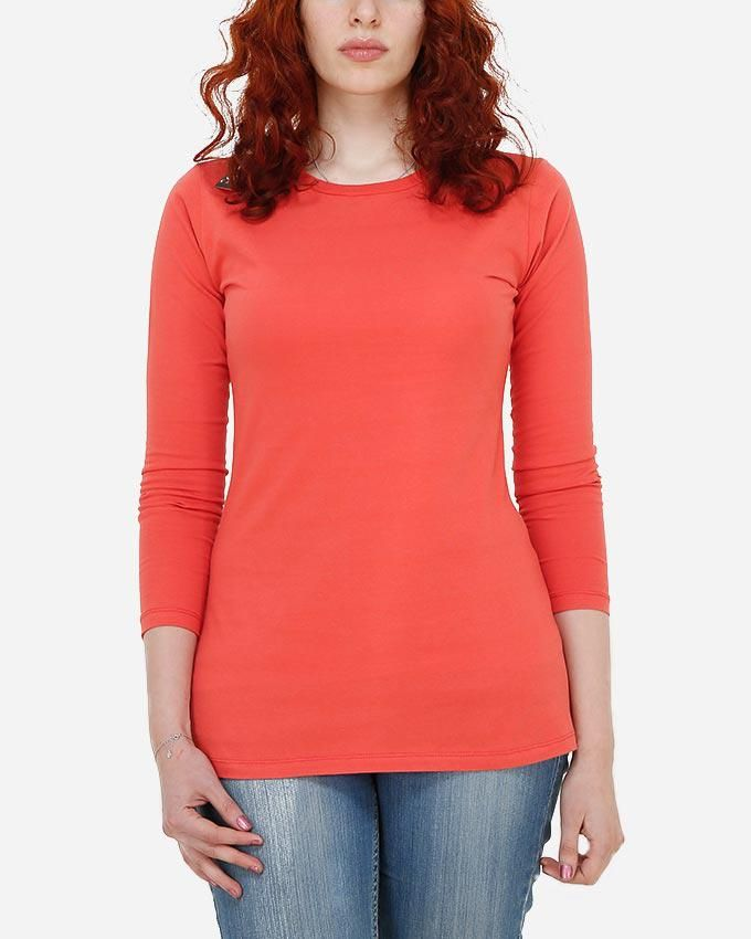 Kaf Long Sleeve Cotton Crew-Neck T-shirt - Coral Red