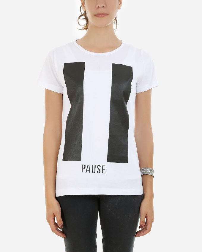 Be Positive Pause T-Shirt - White logo