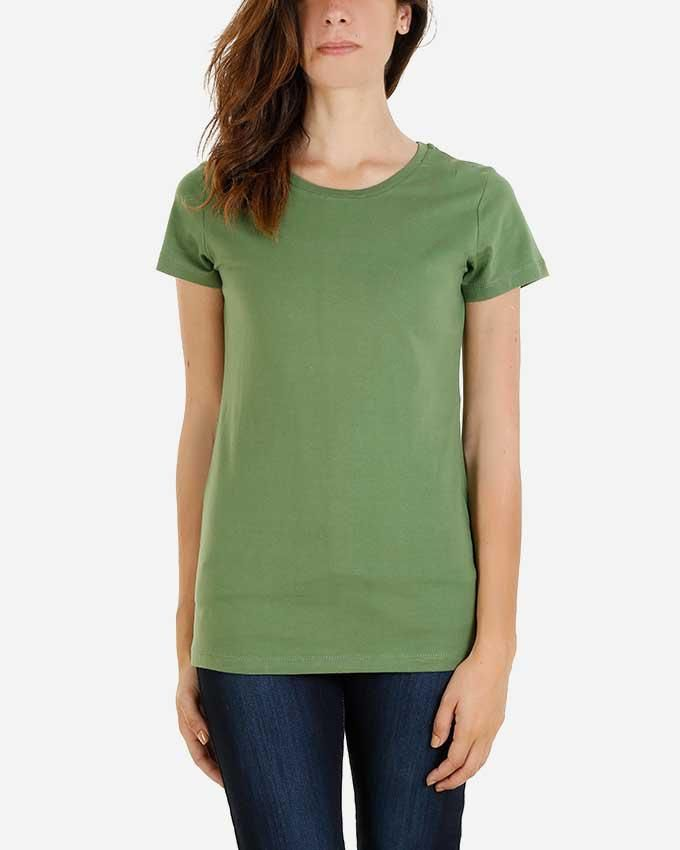 Kaf Cotton Crew Neck Basic T-Shirt - Tree Top