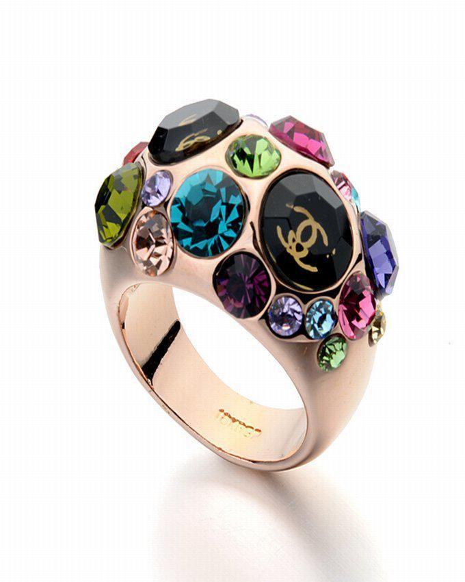 Dinardo Rose Gold 18K Gold Plated Swarovski Ring with Colorful Stones logo