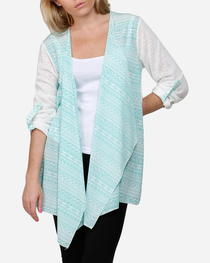 VUE Aztec Cardigan with Back Flower - Mint Green & White logo