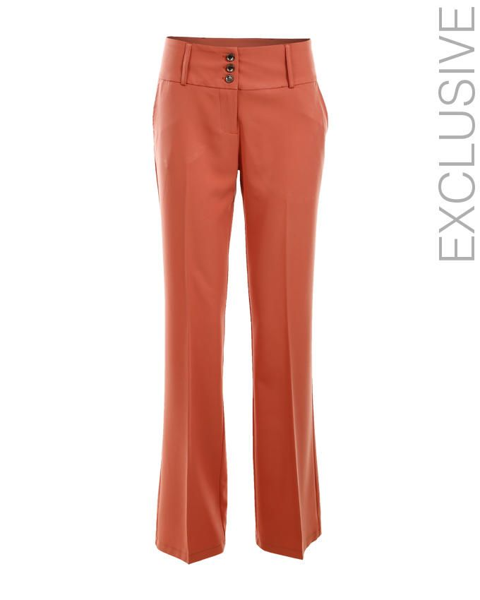 LANTIN Light Coral Polyester Boot Cut Pants