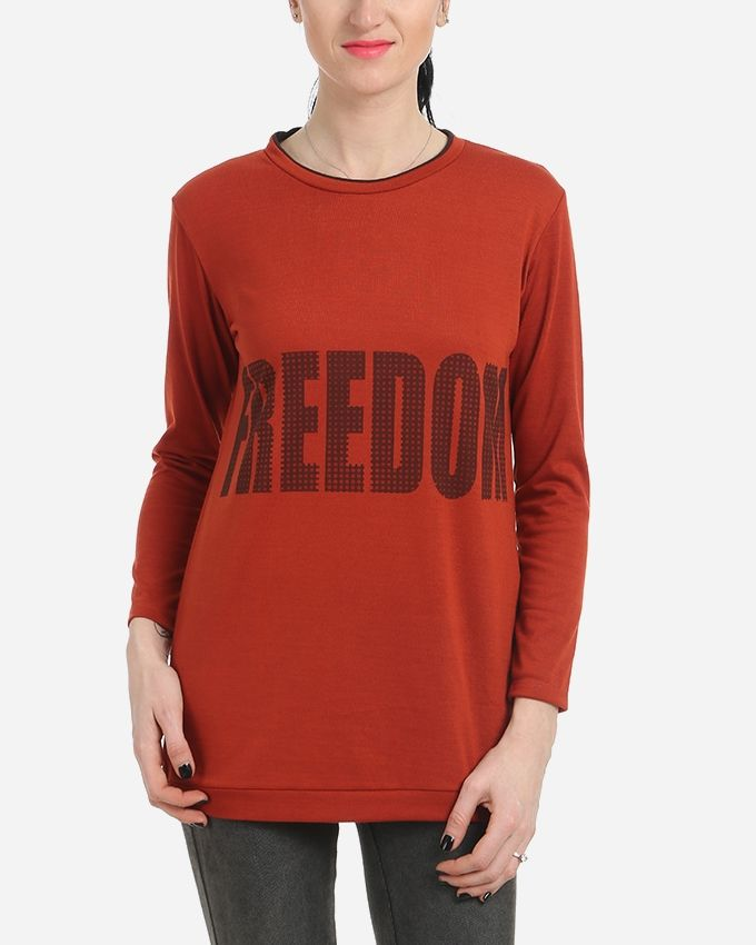 Freedom Printed Top - Dark Burnt Orange