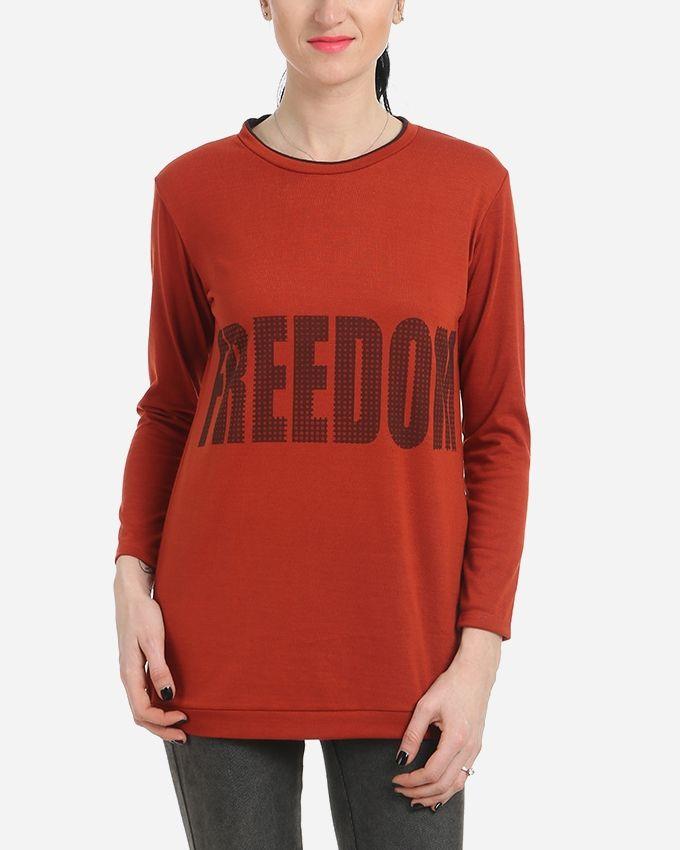 Freedom Printed Top - Dark Burnt Orange