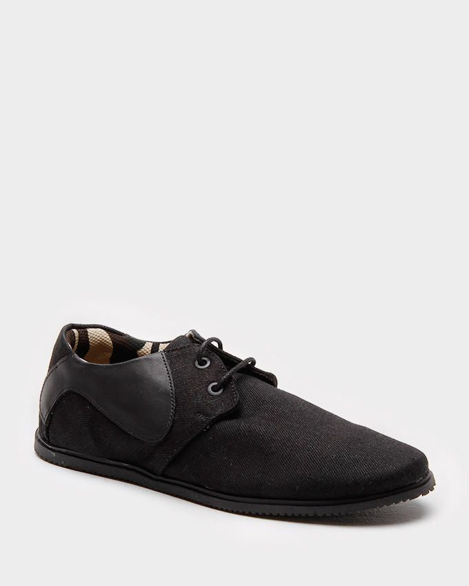 Star  Black Canvas Plimsolls with Leather Details