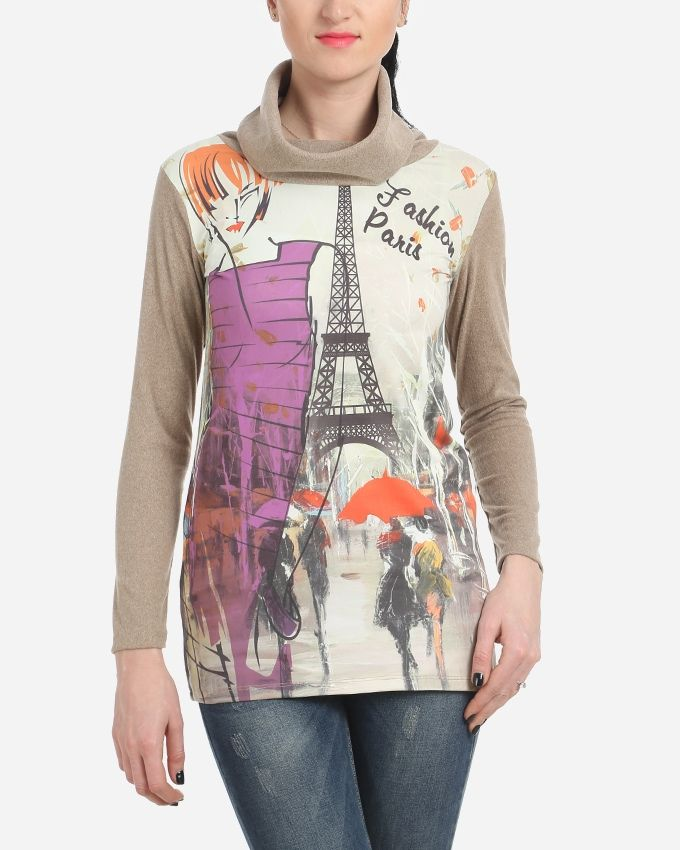 Evil Tower Printed Top - Heather Coffee