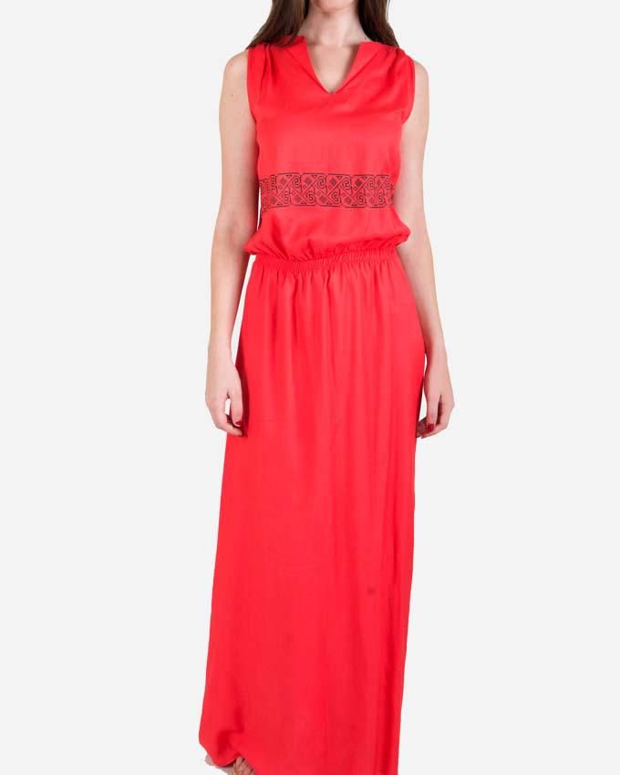 Giro Printed Maxi Dress -  Red