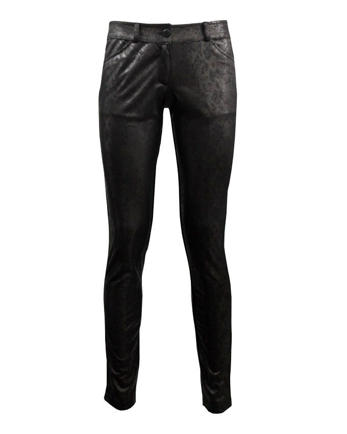 Giro Dark Coffee Leather Snake Skin Effect Skinny Pants