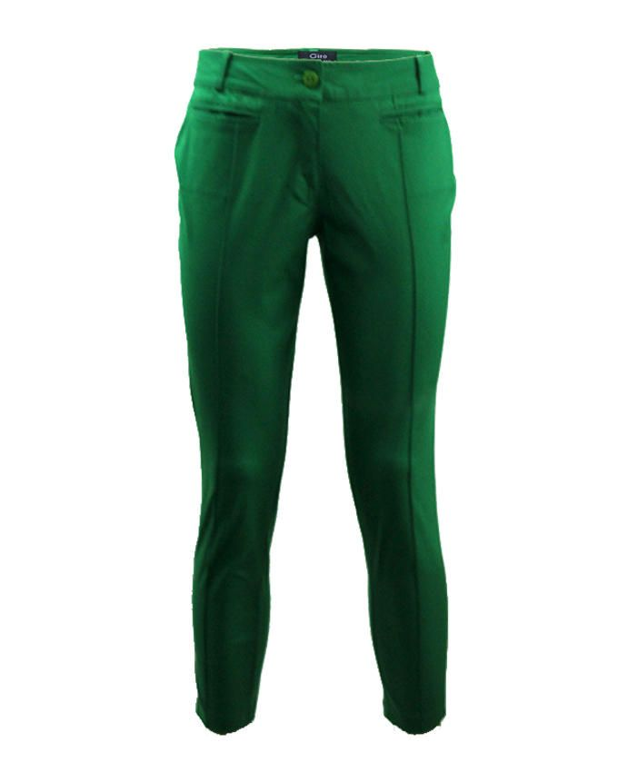 Giro Green Gabardine/Cotton Straight Pants