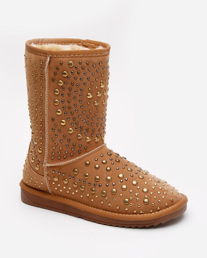 BESTELLE Camel Suede Ugg Boots with Decorative All-over Gold Studs