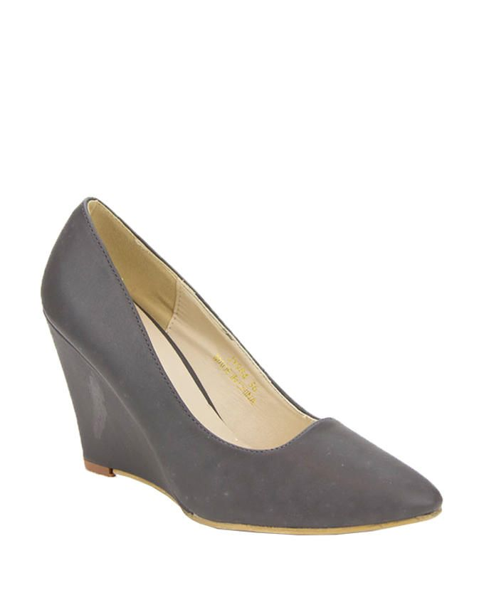 Walkies Dark Grey PU Leather Pointed Toecap Wedge Pumps