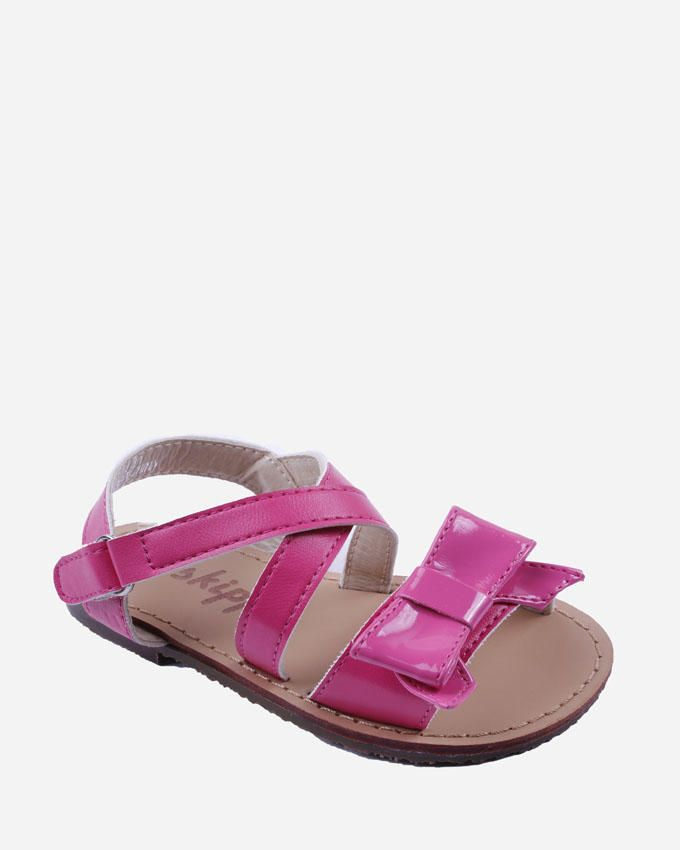 Skippy Girl Fuchsia Flat Sandal with Shiny Top Bow