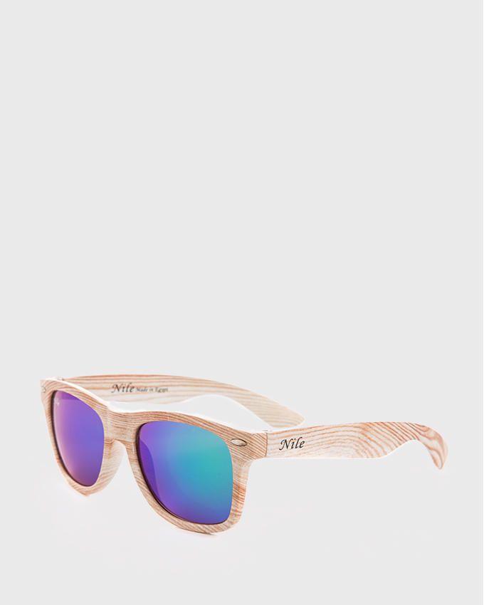 Nile Wooden Effect Flash Mirror Sunglasses - Green & Blue